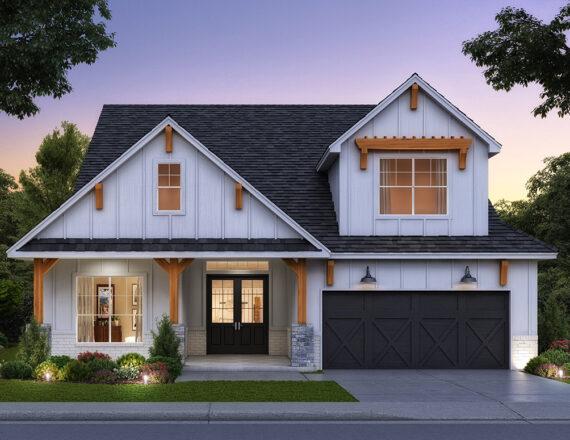 Mahogany Farmhouse – 3D exterior rendering