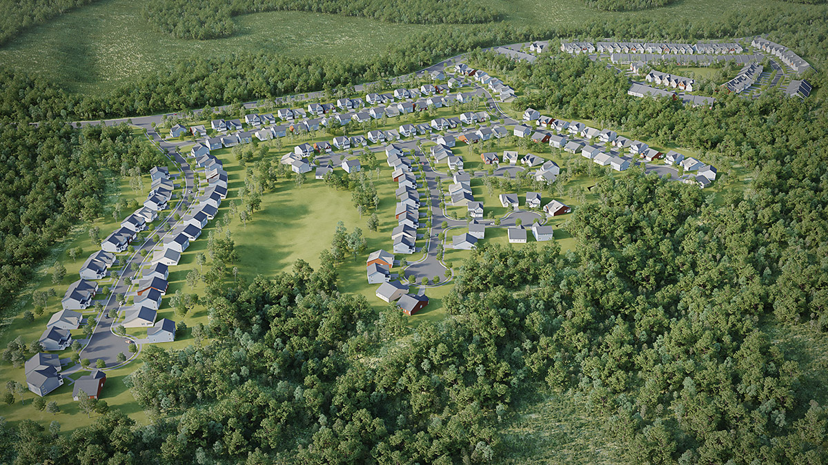 Stonehouse aerial 3D rendering