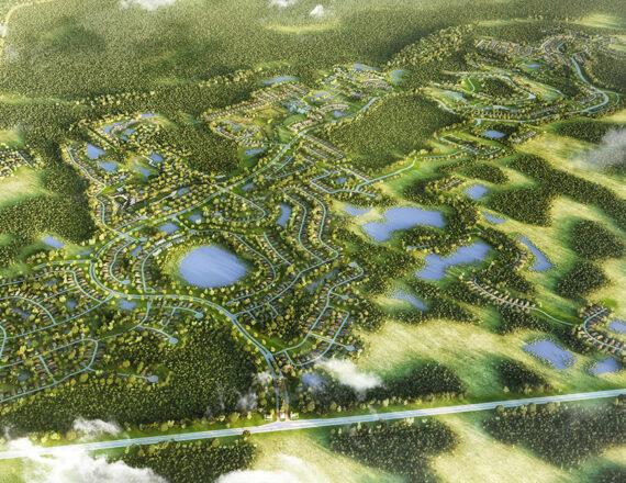 Providence aerial 3D rendering