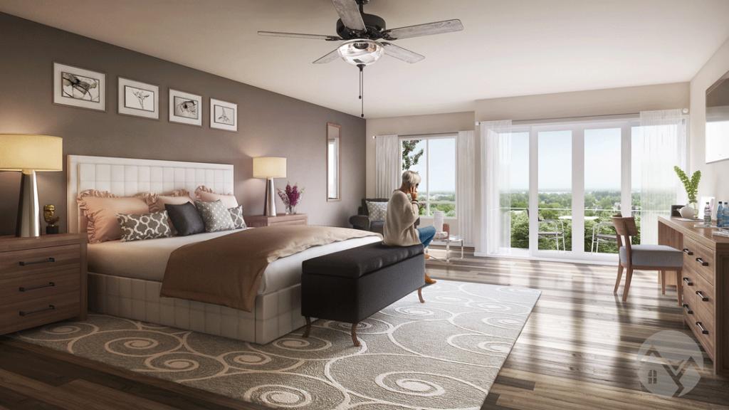 3d interior rendering of a bedroom