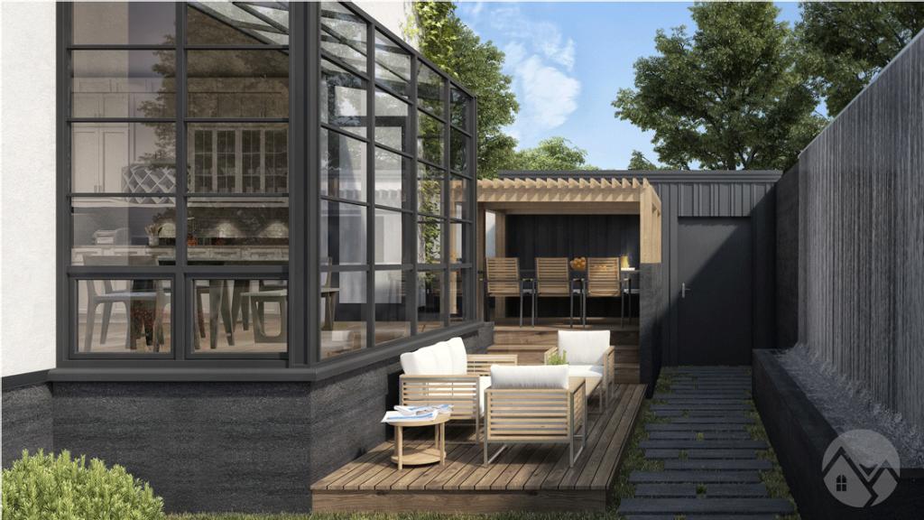 modern house style back rendering