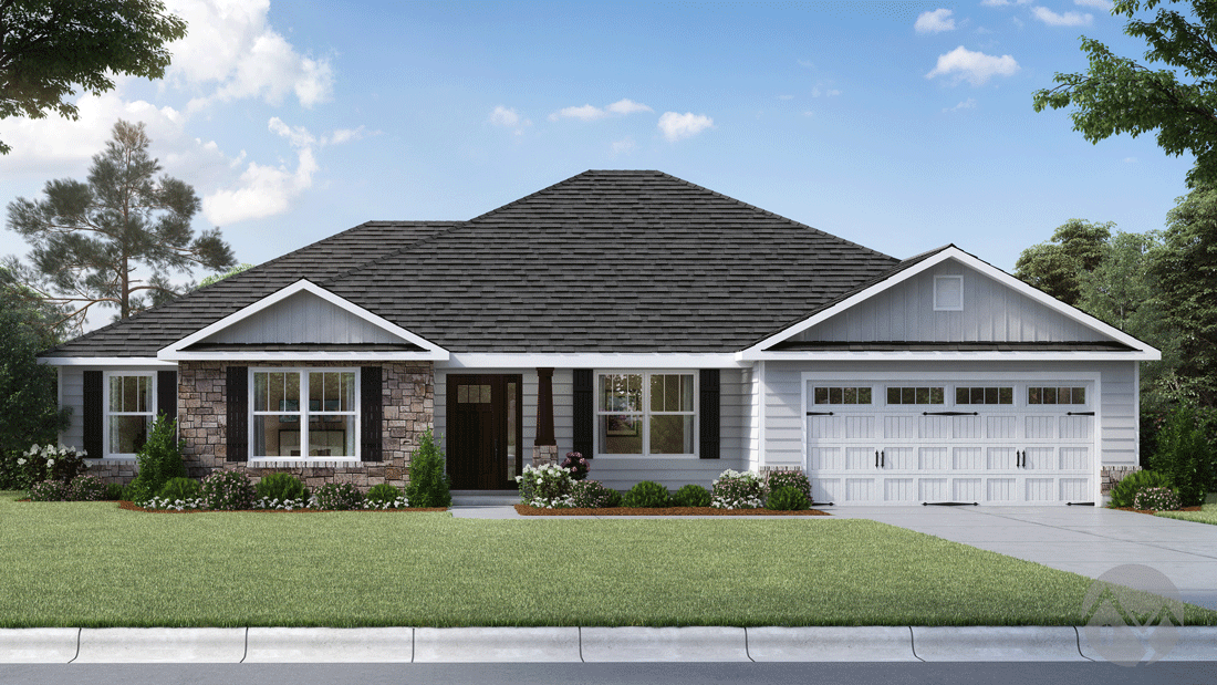 3d home rendering single story house traditional style