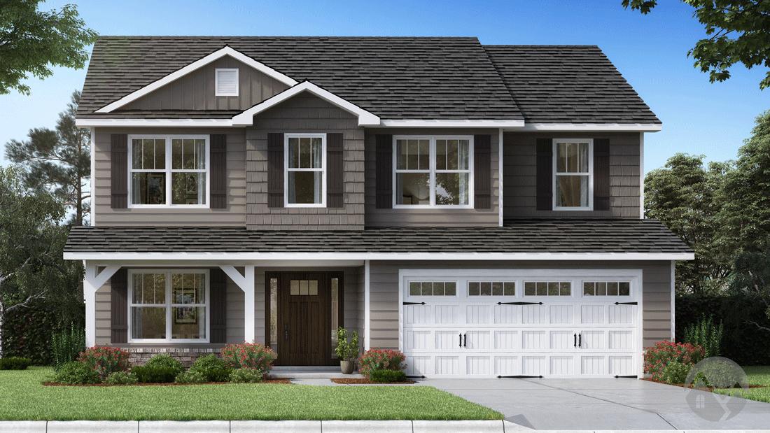 3d home rendering white garage door 2 story house wood front door with glass