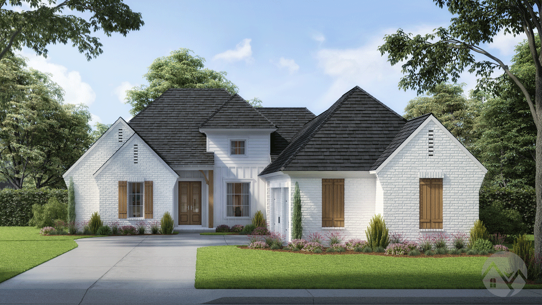 3d home rendering white exterior with wood shutters