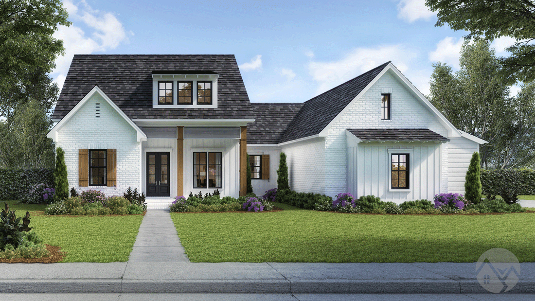 3d home rendering exposed wooden beams white exterior