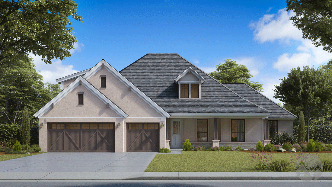 3d house rendering pastel color exterior and barn style garage door