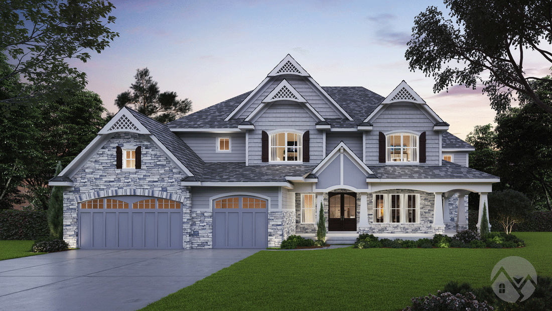 3d home rendering 2 story house pastel color exterior stone walls