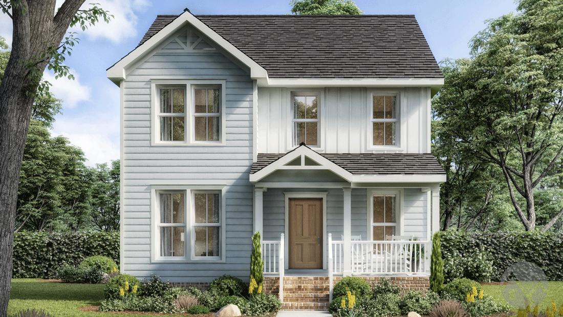 3d home rendering light blue exterior 2 story house