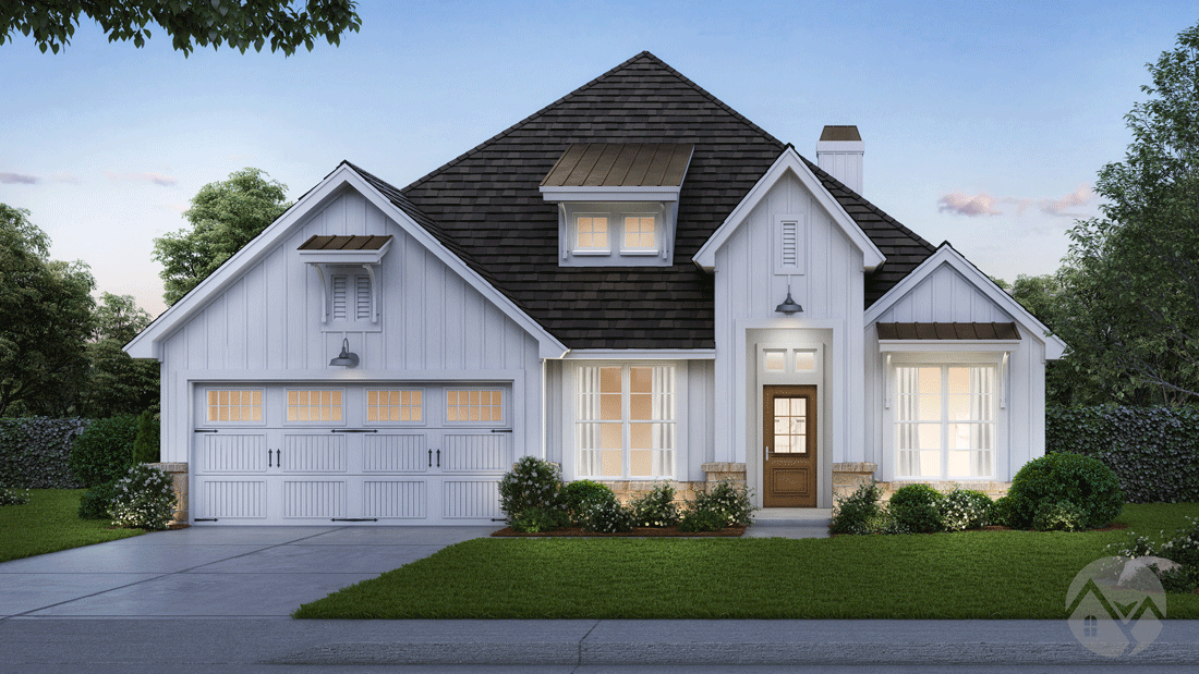 3d home rendering white exterior blue roof tiles wood front door 2 story house