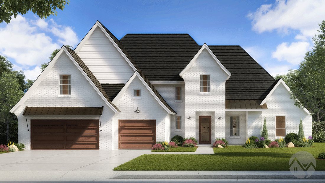 3d home rendering white exterior with wood shutters 2 story house