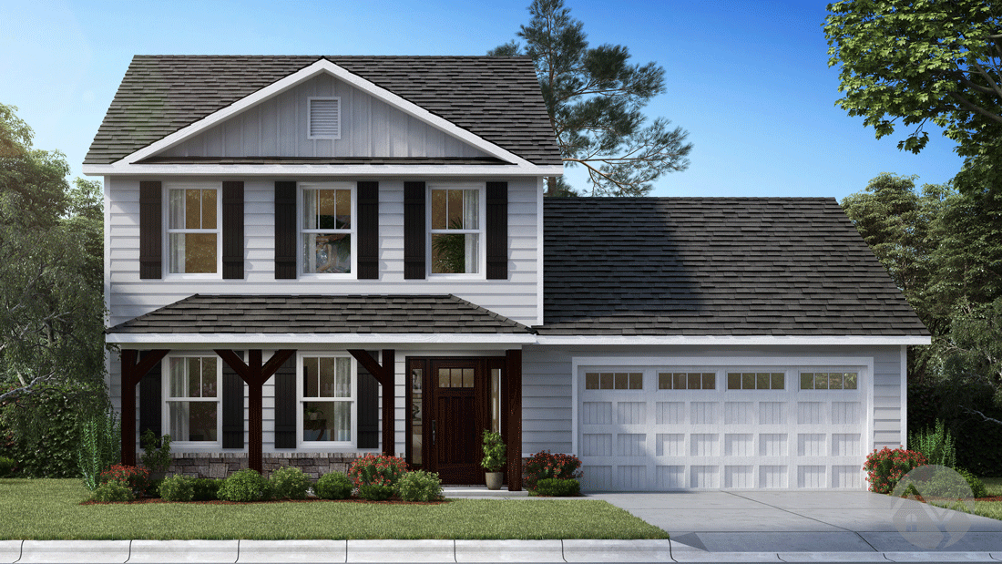 3d home rendering white house exterior