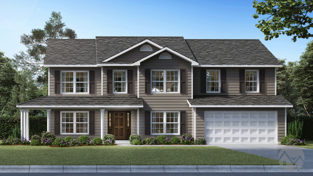 3d home rendering 2 story house traditional style