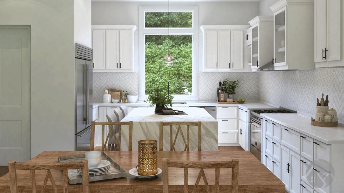 open concept kitchen 3d rendering
